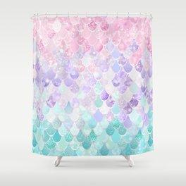 Cute Mermaid Pattern, Light Pink, Purple, Teal Shower Curtain