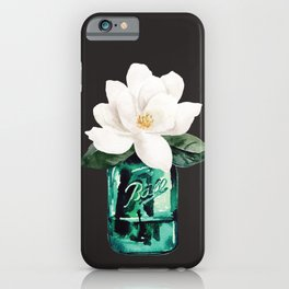 Magnolia in a glass jar with black background iPhone Case