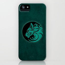 Teal Blue Growling Wolf Disc iPhone Case
