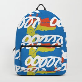 Geometrical abstract blue orange yellow watercolor Backpack