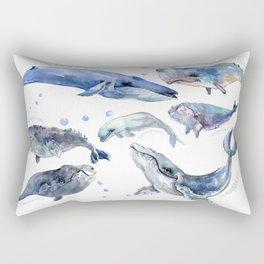 Whales, Whale design, whale wall art, sea, marine aquatic animal art, school learning wall Rectangular Pillow