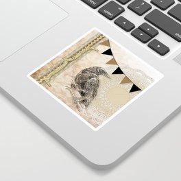 Crow, Brown Banner, Doily, Digital Design Sticker