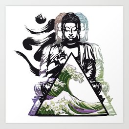 Buddha Wave Green Typhoon Art Print