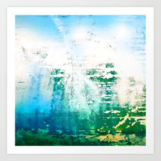 Abstract Blue Water Ocean Metal Boat Grime Art Print