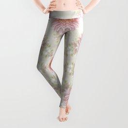 Pink Chrysanthemums Kaleidoscope Art 2 Leggings
