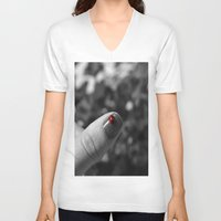 nail polish V-neck T-shirts featuring ladybug on my nail by gzm_guvenc