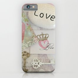 Shabby Chic Love Romantic Decor - Love Skeleton Key Prints Home Decr iPhone Case