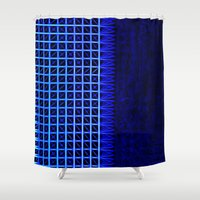 led zeppelin Shower Curtains featuring led blue by Fringed violet