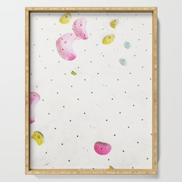 Geometric abstract free climbing bouldering holds white minimal pink Serving Tray