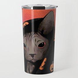 Brown Sphynx Cat Snuggled Up In a Halloween Pumpkin Blanket Travel Mug