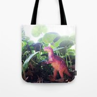 dinosaur Tote Bags featuring Dinosaur by cafelab