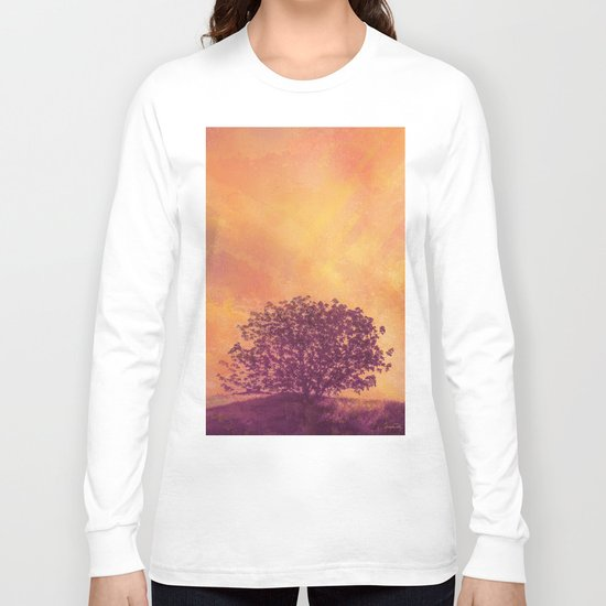 Red Violet Lone Tree and Fall Sunlight Long Sleeve T-shirt