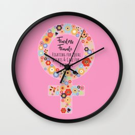 Fearless Female Pink Wall Clock