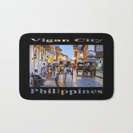 Rush Hour in Vigan City (on black) Bath Mat