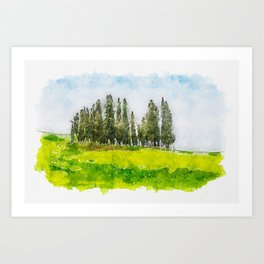 Aquarelle sketch art. Beautiful spring minimalistic landscape with Italian Cypress on the green hill Art Print