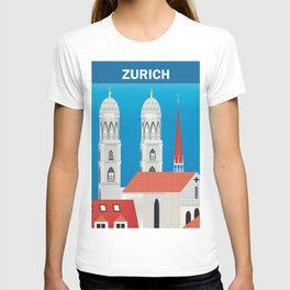 Zurich, Switzerland - Skyline Illustration by Loose Petals T-shirt