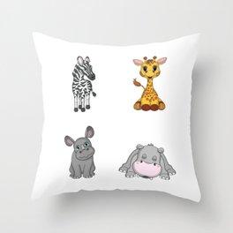Cute African Animals Throw Pillow