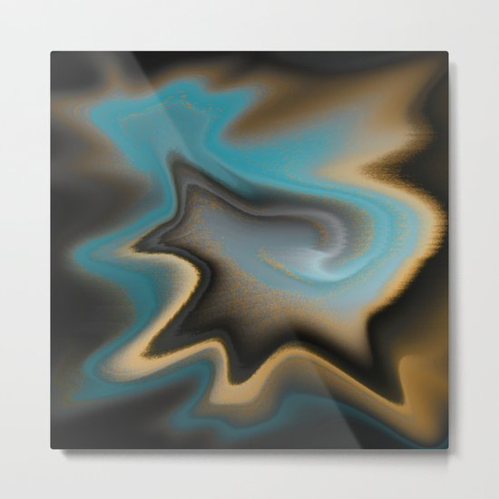 Teal and Orange Abstract 01 Metal Print