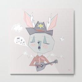 Singing Jackelope Cowboy in Pink Metal Print