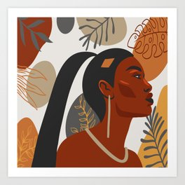 Hand drawn abstract portrait of beautiful african american girl,  monstera leaves background Art Print