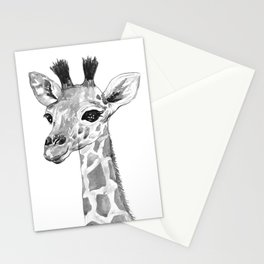 baby giraffe, black and white Stationery Cards