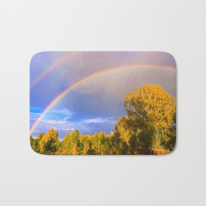 Double rainbow in autumn Bath Mat