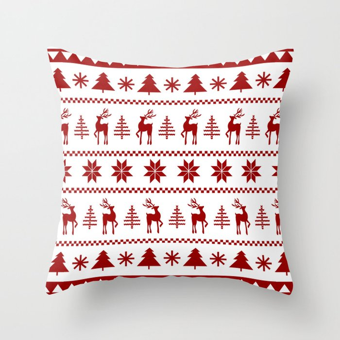 Christmas Sweater in Red Throw Pillow