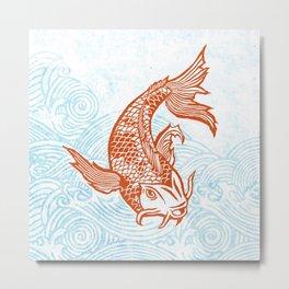 Koi block print Metal Print