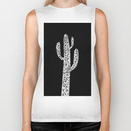 Cactus in lines black Biker Tank