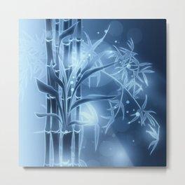 Bambuszweige - blau coloriert Metal Print