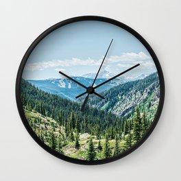 Mountain Landscape // Ski Resort Runs in Summer Epic Green Forest Wilderness Photograph Wall Clock