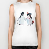 penguin Biker Tanks featuring Penguin by Anna Shell