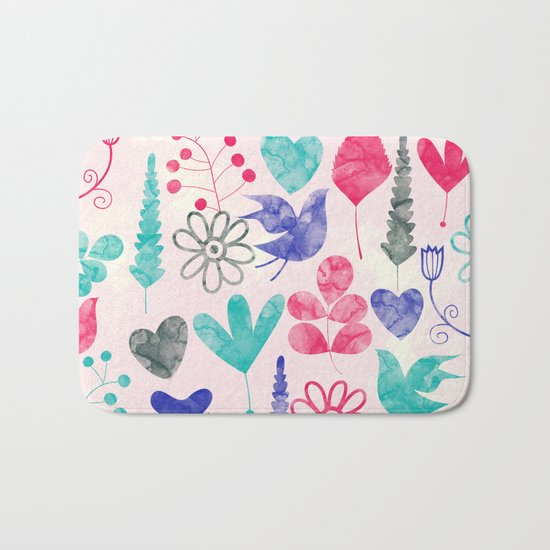 Watercolor Botanical Garden V Bath Mat