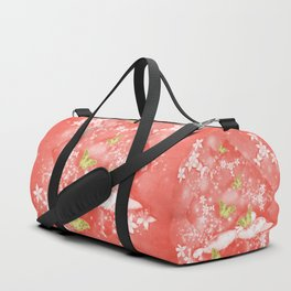 Gold butterflies in magical mushroom landscape Duffle Bag