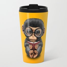 Cute Baby Chimp Reading a Book on Yellow Travel Mug