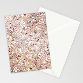 Dusty Rose and Coral Art Deco Marbling Pattern Stationery Cards