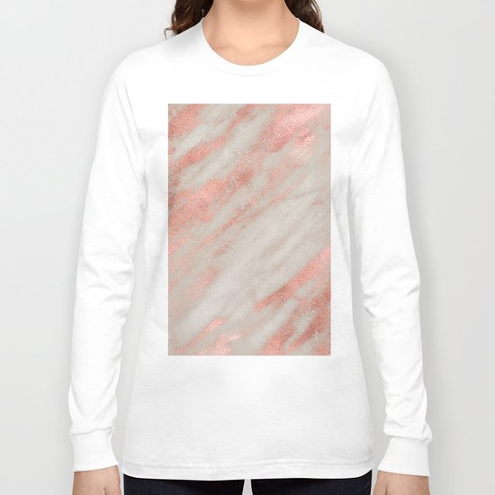 Smooth rose gold on gray marble Long Sleeve T-shirt