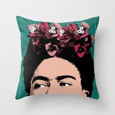 Frida Kahlo Floral Portrait Throw Pillow