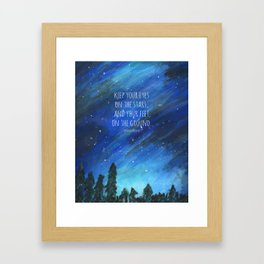 Keep Your Eyes on the Stars, and Your Feet on the Ground Roosevelt Quote Art Starry Night Painting Framed Art Print