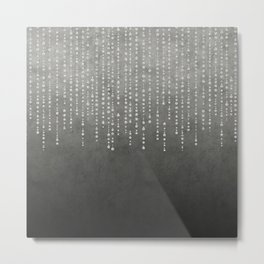 Silver Glamour Faux Glitter on grey Texture Metal Print