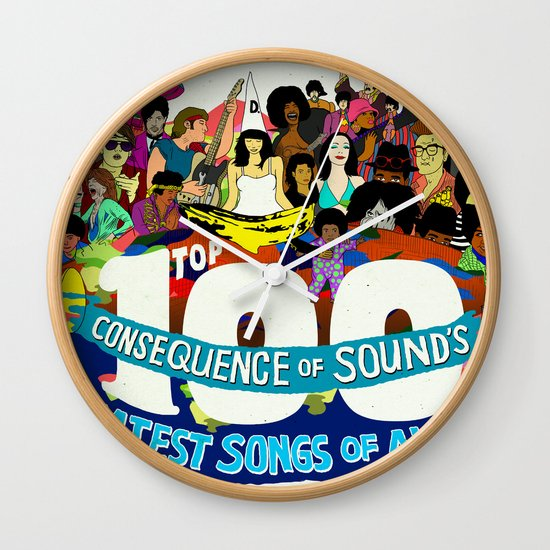 """Top 100 Greatest Songs of All Time"" by Steven Fiche Wall Clock"