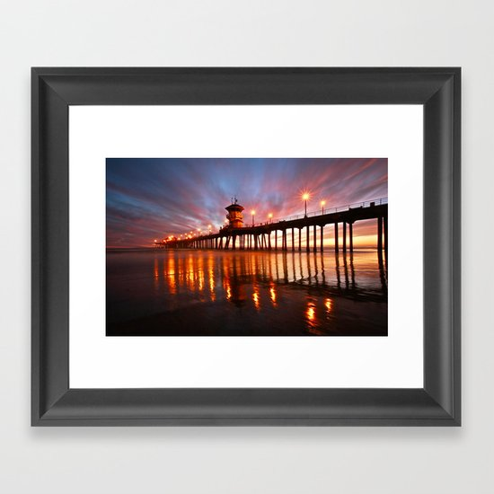 Huntington Beach Wall Decor : Huntington beach pier sunset ca framed