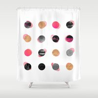gold dots Shower Curtains featuring Pink & Gold Minimal Dots by Elisabeth Fredriksson