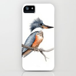 Kingfisher Bird Watercolor Illustration iPhone Case