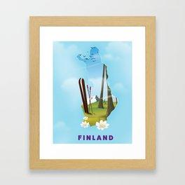Finland map travel poster. Framed Art Print