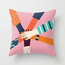 Holding hands circle Throw Pillow
