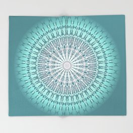 Teal Mandala Medallion Throw Blanket