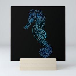 Seahorse Line Doodle - 05 Mini Art Print