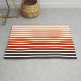 Watercolor Gouache Mid Century Modern Minimalist Colorful Burnt Sienna Stripes Rug