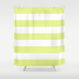 Key lime - solid color - white stripes pattern Shower Curtain